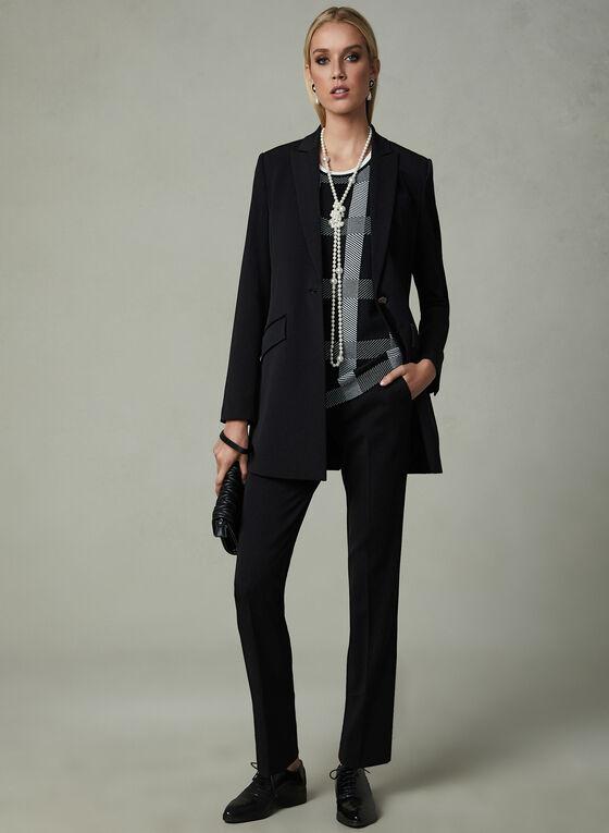 Cardigan sans manches motif tartan et uni, Noir, hi-res