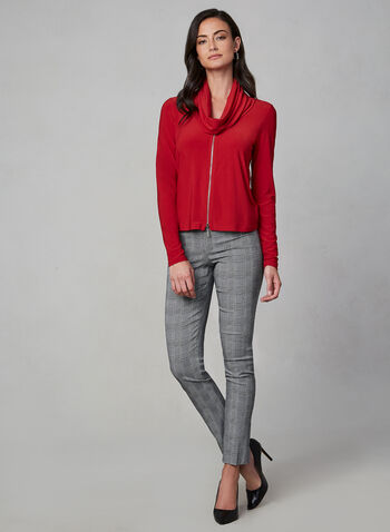 Joseph Ribkoff - Long Sleeve Drape Neck Top, Red, hi-res,  top, long sleeve, drape neck, zipper detail, jersey, fall 2019