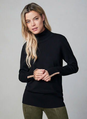 Ruffle Trim Turtleneck Sweater, Black, hi-res,  knit, long sleeves, stretchy, fall 2019, winter 2019