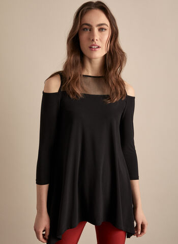 Cold Shoulder Top, Black,  canada, top, cold shoulder, 3/4 sleeves, mesh, mesh yoke, mesh top, spring 2020, summer 2020