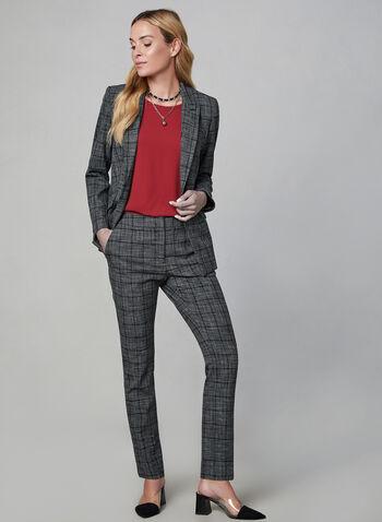 Blazer à imprimé Prince-de-Galles, Gris, hi-res,  manches longues, col cranté, veste, carreaux, automne hiver 2019
