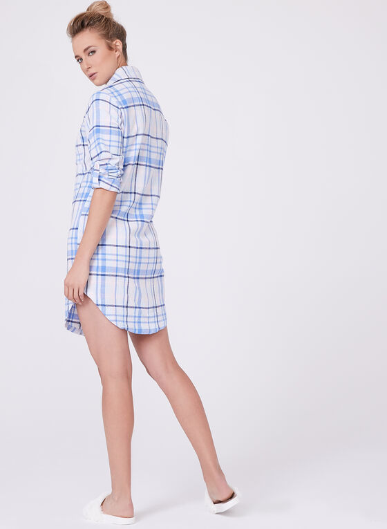 Tartan Flannel Nightgown, Blue, hi-res