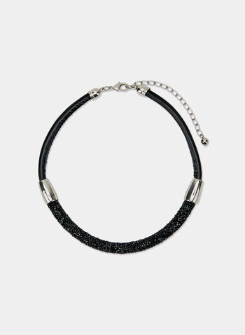 Pavé Cord Bracelet, Black, hi-res