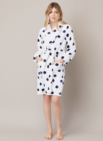 Polka Dot Print Robe, White,  fall winter 2020, robe, polka dot, belt, pockets, long sleeves