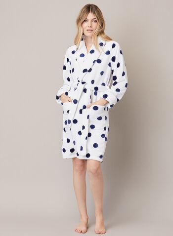 Peignoir à motif pois, Blanc,  automne hiver 2020, peignoir, robe de chambre, pyjama