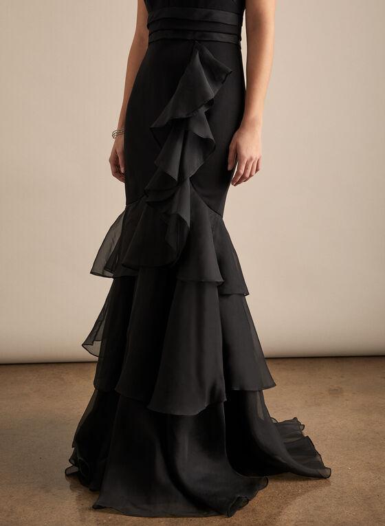 Aidan Mattox - Cascade Ruffle Mermaid Dress, Black