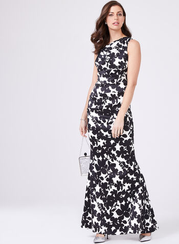 Nicole Miller - Floral Print Dress, Black, hi-res