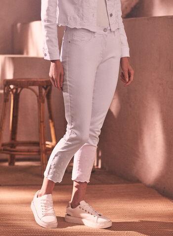 Jeans à jambe droite brodé, Blanc,  printemps été 2021, bas, pantalon, jeans, denim, jambe droite, fermeture éclair, zip, ganse, poches, broderies, brodé, ourlet, vague, longueur cheville, fait au canada