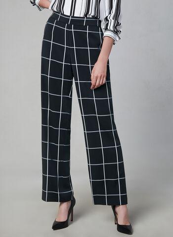 Windowpane Wide Leg Pants, Black, hi-res,  wide leg, pull-on, plaid, windowpane, fall 2019, winter 2019