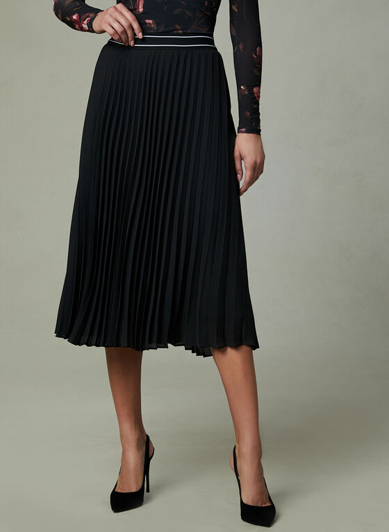 Elastic Waist Pleated Skirt, Black, hi-res