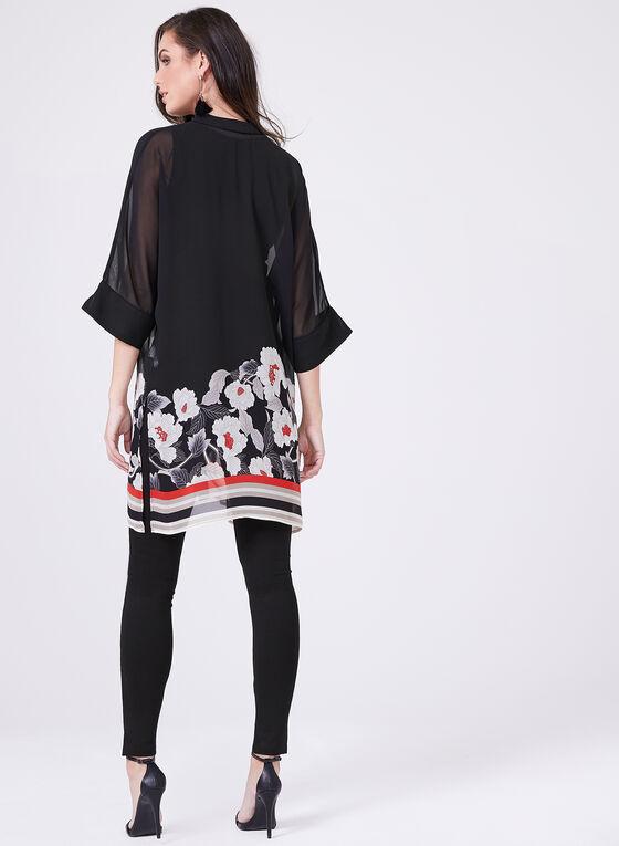 Sheer Chiffon Kimono Top, Red, hi-res