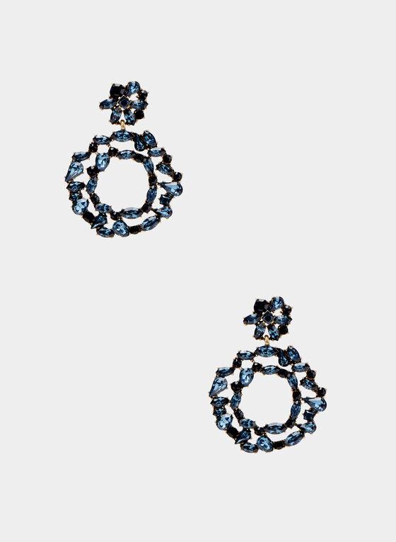 Crystal Hoop Dangle Earrings, Blue, hi-res