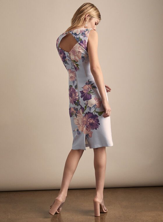 Floral Print Sleeveless Dress, Blue