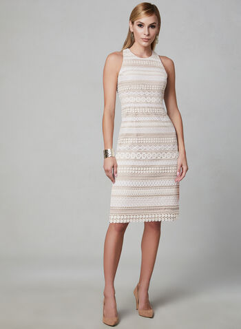 Eliza J - Sleeveless Crochet Dress, White, hi-res