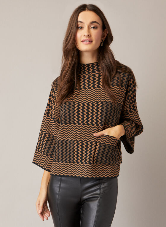 Pull en tricot à motif chevrons, Brun