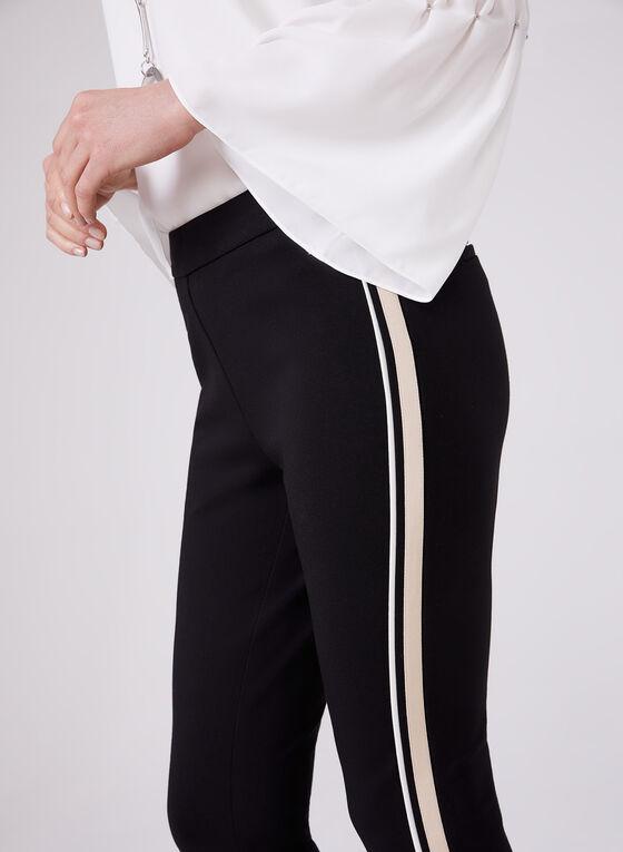 Stripe Trim Slim Leg Pants, Black