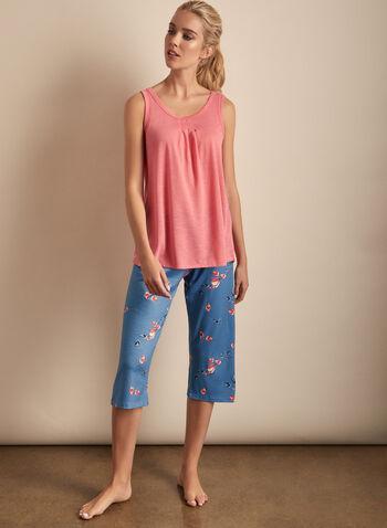 Claudel Lingerie - Floral Print Capri & Top Pyjama Set, Orange,  Claudel, lingerie, sleepwear, pyjama, tank top, capri, floral print, spring 2020, summer 2020