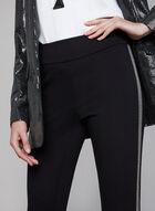 Beaded Trim Slim Leg Pants, Black, hi-res