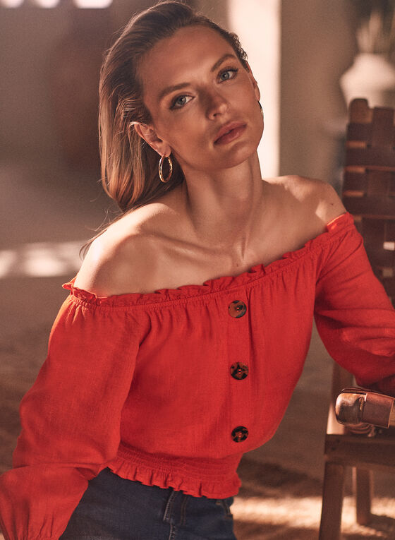 Linen Blend Bardot Neckline Blouse, Red