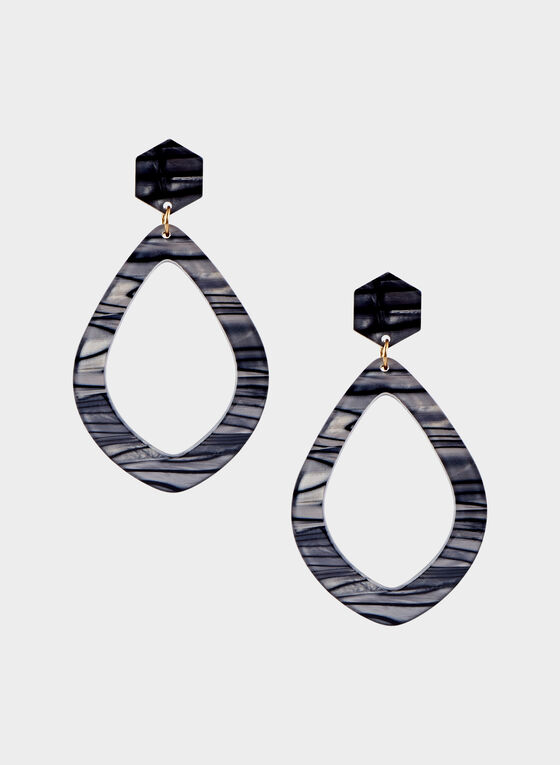 Marbleized Acrylic Pendant Earrings, Grey, hi-res