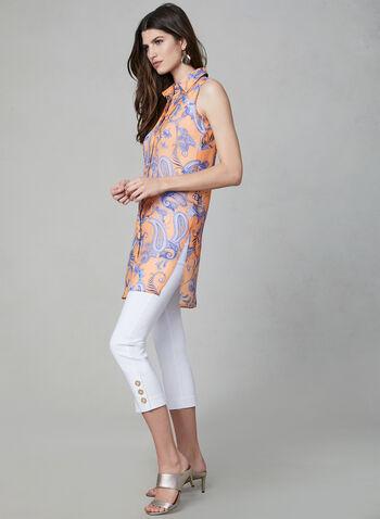 Blouse tunique à imprimé cachemire, Orange, hi-res,  sans manches, chemisier, printemps été 2019, imprimé cachemire