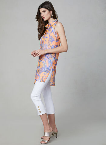Paisley Print Sleeveless Duster, Orange, hi-res,  chiffon, blouse, placket, spring 2019, summer 2019