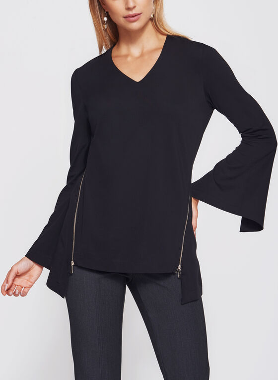 Ponte Bell Sleeve Top, Black, hi-res