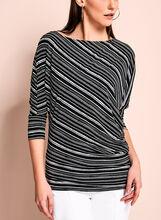 Asymmetric Stripe Print Top, Black, hi-res