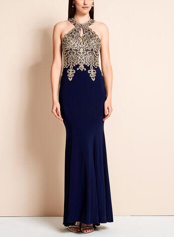 BA Nites - Crystal Lace Mermaid Dress, Blue, hi-res