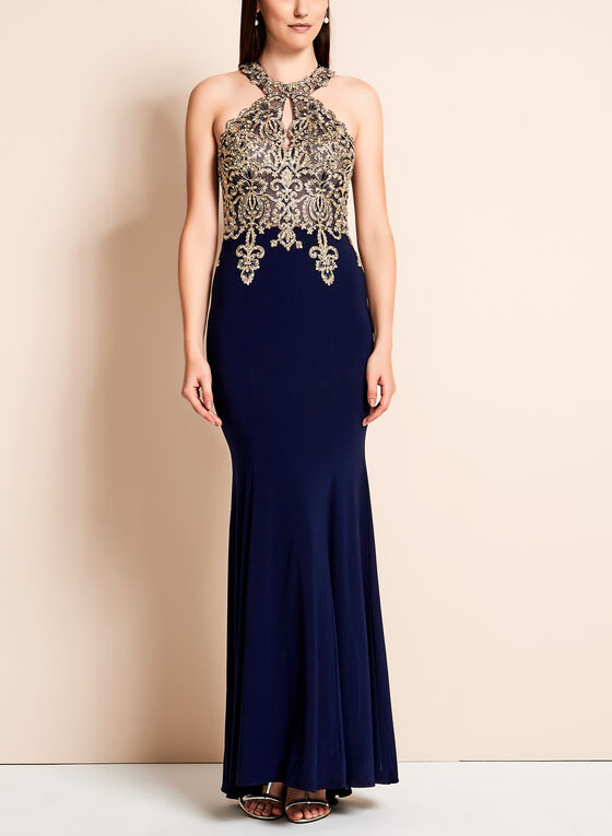 BA Nites - Crystal Lace Mermaid Dress, Blue, hi-res