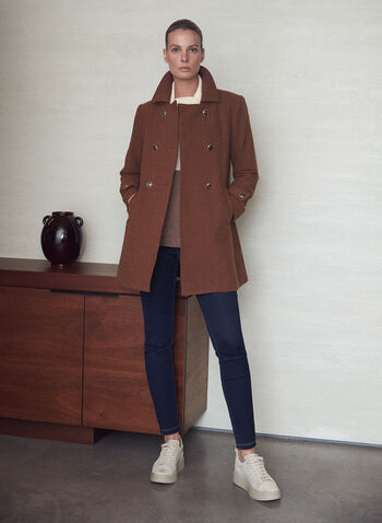 Double Breasted Wool Blend Coat, Beige,  fall 2021, coat, outerwear, wool, wool blend, wool blend, double breasted, shirt collar, long sleeve, button tab, sleeve tab, button front, pockets, structured, A-line