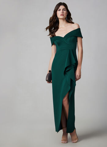 BA Nites - Off-the-Shoulder Dress, Green, hi-res,  evening gown, off-the-shoulder, draped, slit, heart shaped neckline, fall 2019, winter 2019