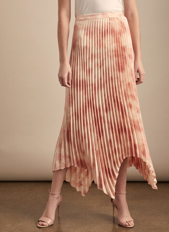 Vince Camuto - Jupe plissée édentée, Rose,  jupe, plissée, mousseline, édenté, abstrait, printemps été 2020
