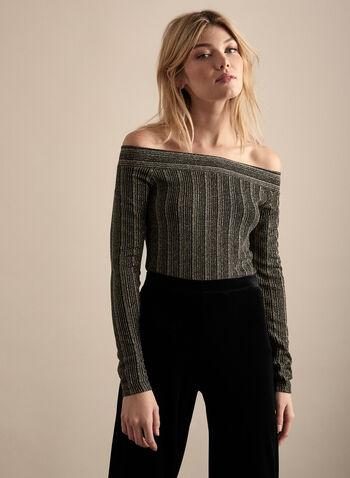 Metallic Off-the-Shoulder Top, Black,  fall 2019, winter 2019, long sleeves, metallic