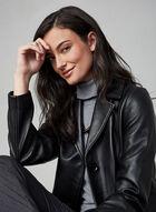 Anne Klein - Manteau en cuir véritable, Noir
