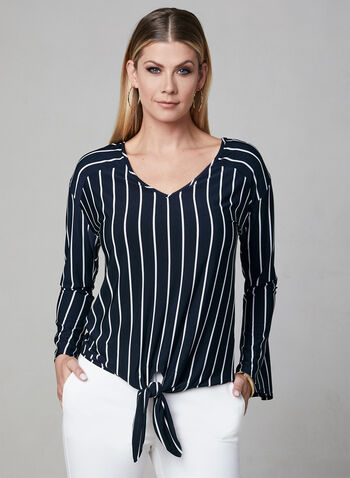 Frank Lyman - Stripe Print Tie Detail Top, Blue, hi-res