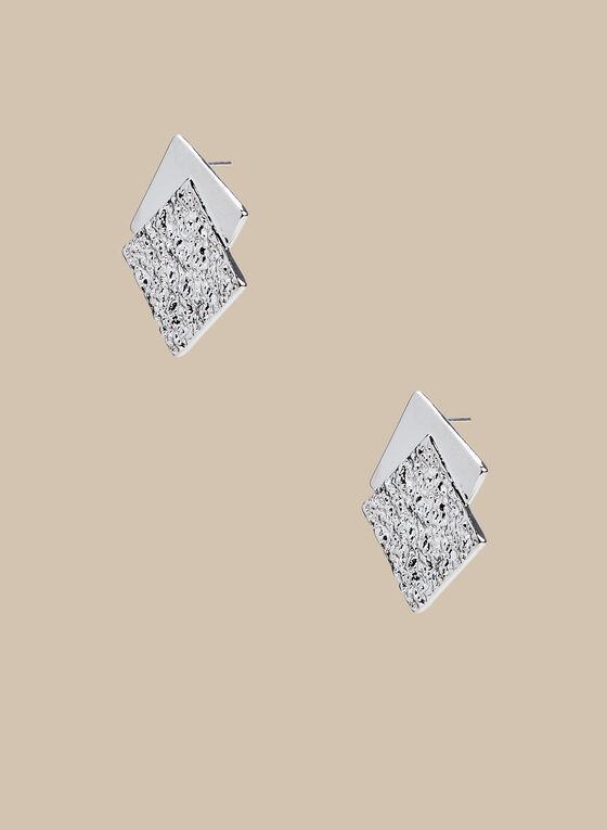 Clous d'oreilles à deux carrés, Argent