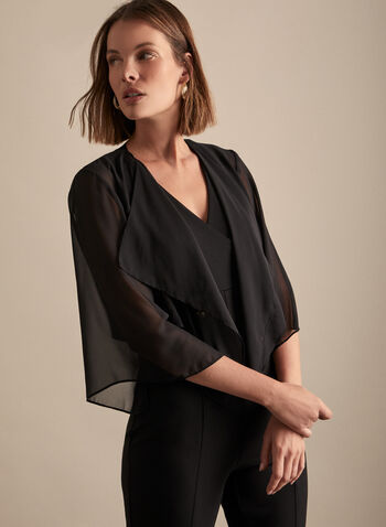 Alex Evenings - Chiffon Bolero, Black,  spring summer 2020, chiffon, 3/4 sleeves, evening looks