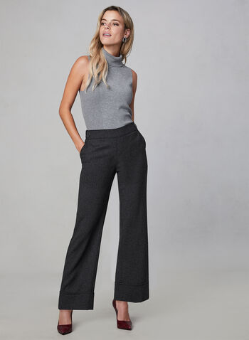 Wide Leg Pull-On Pants, Black, hi-res,  pull-on, fall 2019, winter 2019, wide leg, buttons