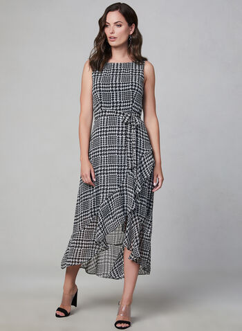 Sandra Darren - Houndstooth Print Dress, Black,  Sandra Darren, day dress, lined, chiffon, sleeveless, ruffle hem, houndstooth print, fall 2019, winter 2019