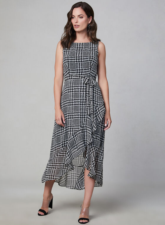 Sandra Darren - Houndstooth Print Dress, Black