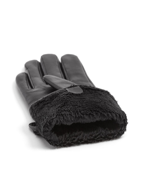 Leather Gloves, Black, hi-res
