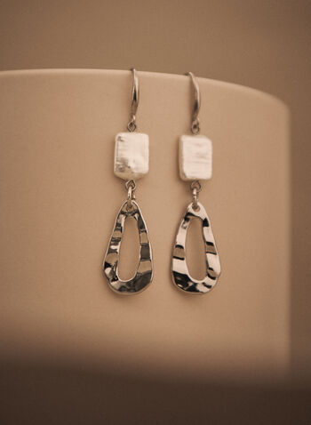 Teardrop Dangle Earrings, Off White,  spring summer 2021, accessories, jewelry, jewellery, open, tiered, two tone