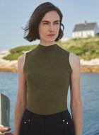 Sleeveless Mock Neck Sweater, Green