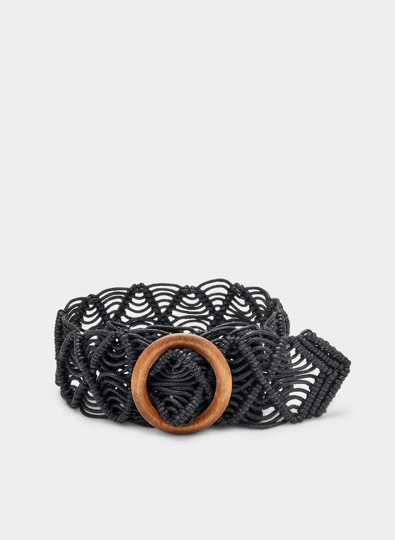 Open Weave Braided Belt, Black