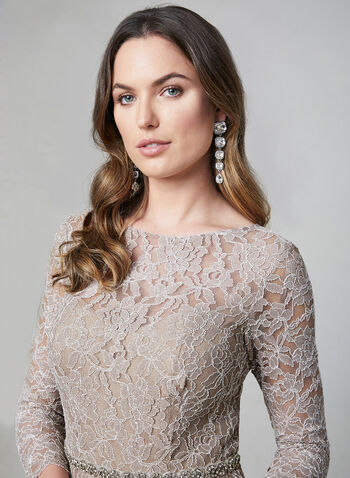 Sequin Lace Dress, Off White, hi-res,  cocktail dress, lace dress, sequin dress, crystal sash