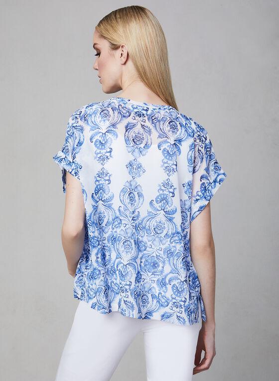 Chiffon Kimono Blouse, Blue, hi-res