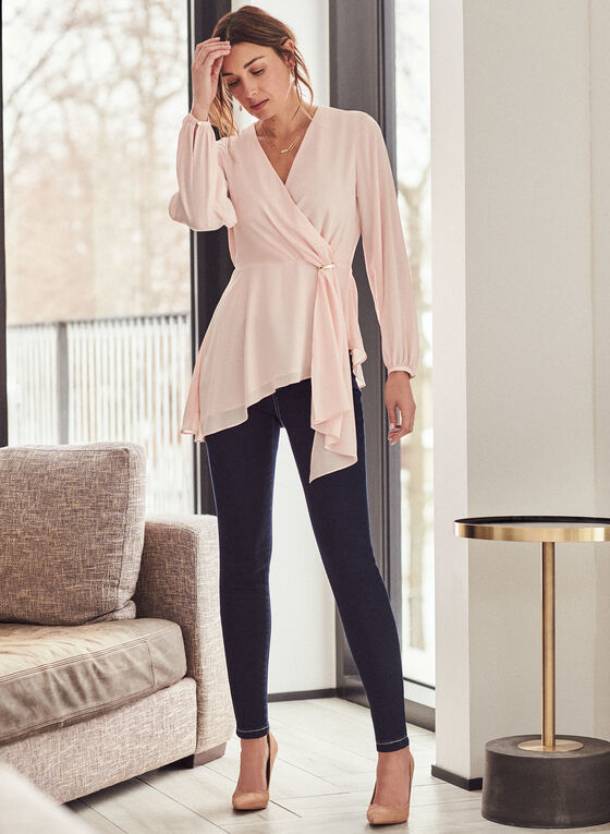Asymmetric Faux Wrap Tunic Blouse, Pink