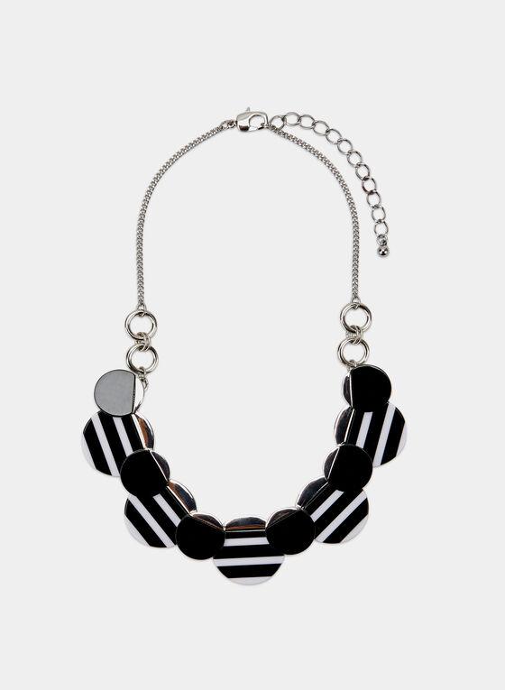 Collier à pendentif disques à rayures, Noir, hi-res