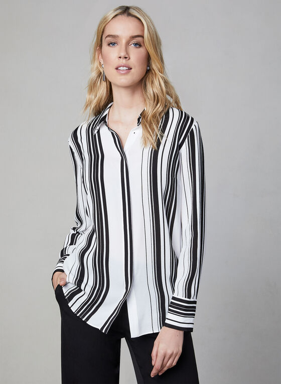 Stripe Print Long Sleeve Blouse, White, hi-res